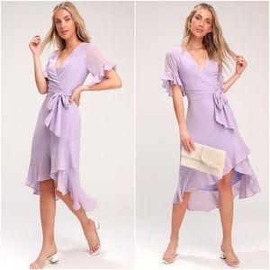 "Lulu's ""Lavender Dreams"" Wrap Ruffle Midi Dress"
